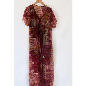NWOT xhileration Boho patch work beaded maxi dress